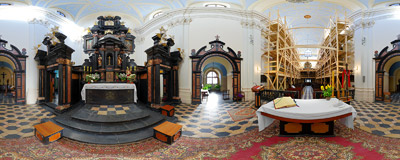 In St. Lazarus' church in Kraków in Kopernik Street in Kraków.  Click to view this panorama in new fullscreen window