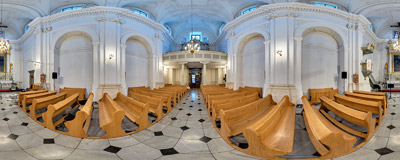 Inside the Protestant church of St. Martin on Grodzka Street in Kraków.  Click to view this panorama in new fullscreen window
