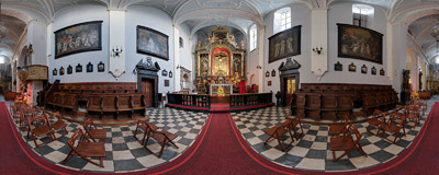 Inside St. Mark's church in Kraków.  Click to view this panorama in new fullscreen window