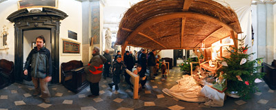 Nativity scene in the church of St. Peter and St. Paul in Kraków.  Click to view this panorama in new fullscreen window