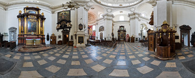 Inside the St. Peter and St. Paul's Church on Grodzka Street in Kraków.  Click to view this panorama in new fullscreen window