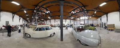 Car exhibition in the City Engineering Museum in Kraków.  Click to view this panorama in new fullscreen window
