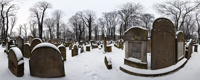 A winter visit to the New Jewish Cemetery (Nowy Cmentarz Żydowski) in Kraków.  Click to view this panorama in new fullscreen window