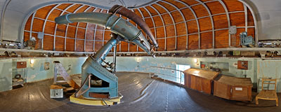 Astronomical Observatory of the Jagiellonian University in Kraków - Grubb refractor.  Click to view this panorama in new fullscreen window