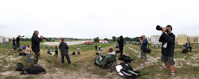 Photographers at the 8th Air Show in Kraków-Czyżyny.  Click to view this panorama in new fullscreen window