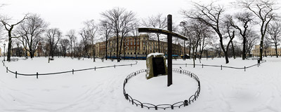 A gray and snowy day in the Planty garden in Kraków.  Click to view this panorama in new fullscreen window