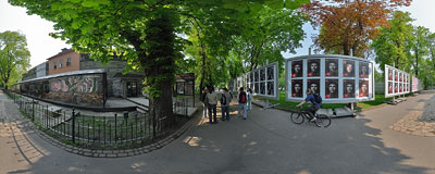 Advertising photography exhibition in Planty gardens in Kraków.  Click to view this panorama in new fullscreen window