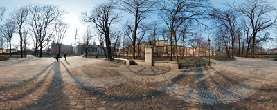 Planty gardens in Kraków, near the Wawel Castle, with the monument of Tadeusz Boy-Żeleński, a Polish writer.  Click to view this panorama in new fullscreen window