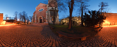 Early December evening in front of the Jesuit church of the Sacred Heart of Jesus in Kraków.  Click to view this panorama in new fullscreen window