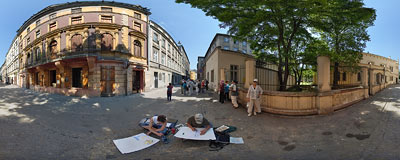 Podbrzezie Street in the old Jewish district.  Click to view this panorama in new fullscreen window
