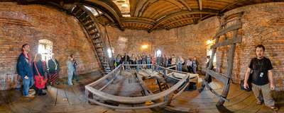 Inside the tower of St. Joseph's church in Kraków-Podgórze.  Click to view this panorama in new fullscreen window