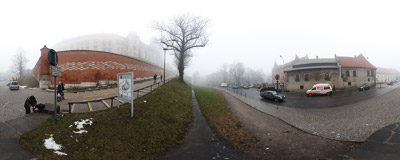 Grey and foggy morning on Podzmacze Street in Kraków, at the feet of the Wawel Castle.  Click to view this panorama in new fullscreen window