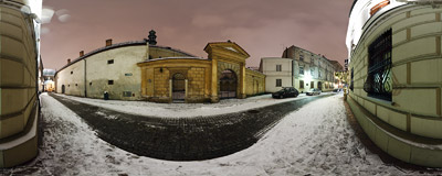 Poselska Street in the Kraków Old Town, visited on a snowy January night.  Click to view this panorama in new fullscreen window