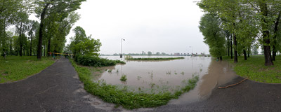 May 2010 flood in Kraków: pathways under water in the Dąbie district.  Click to view this panorama in new fullscreen window