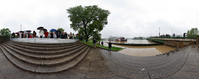 May 2010 flood in Kraków: the water level under the Dębnicki Bridge is relatively low; it will get much higher in a day....  Click to view this panorama in new fullscreen window