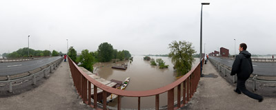 May 2010 flood in Kraków: water dam on the Vistula river in Dąbie.  Click to view this panorama in new fullscreen window