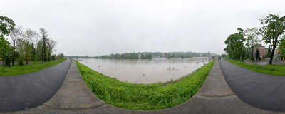 May 2010 flood in Kraków: high waters of the Vistula river in the Dębniki district.  Click to view this panorama in new fullscreen window