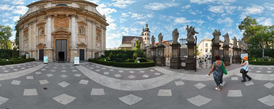 In front of the St. Peter and St. Paul's Church in Kraków.  Click to view this panorama in new fullscreen window