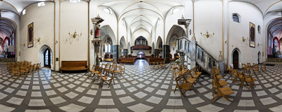 In the Carmelite church of the Immaculate Conception of Virgin Mary on Rakowicka Street in Kraków.  Click to view this panorama in new fullscreen window
