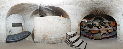 The crypt of the Wielopolski family under the Franciscan church of Saint Casimir in Kraków.  Click to view this panorama in new fullscreen window