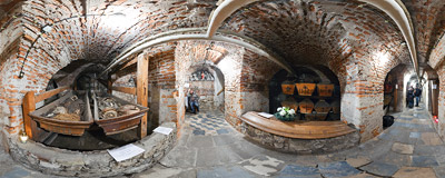 In the crypt under the Franciscan church of Saint Casimir in Kraków.  Click to view this panorama in new fullscreen window
