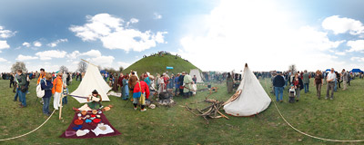The traditional Rękawka fair under the Krakus Mound.  Click to view this panorama in new fullscreen window