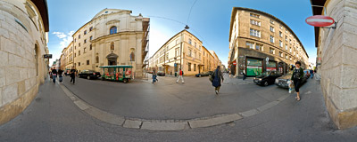 On the corner of Szpitalna and Tomasza streets in the Kraków Old Town.  Click to view this panorama in new fullscreen window