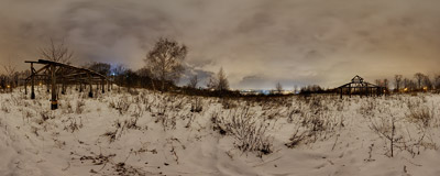 Winter night on Sikornik hill in Kraków.  Click to view this panorama in new fullscreen window