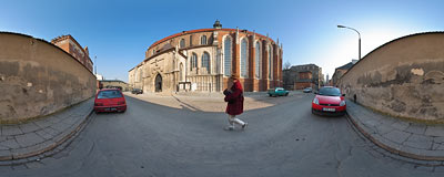 Gothic Augustine church of St. Catherine and St. Margaret in Kraków.  Click to view this panorama in new fullscreen window