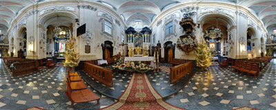 The Christmas decorations in the 18th-century Baroque church of St. Michael and St. Stanislaus in Kraków.  Click to view this panorama in new fullscreen window