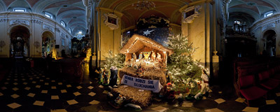 The nativity scene in St. Stanislaus Church at Skałka in Kraków.  Click to view this panorama in new fullscreen window