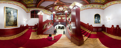 On the stairs of Stary Teatr (Old Theatre) on the 5th Night of Museums.  Click to view this panorama in new fullscreen window