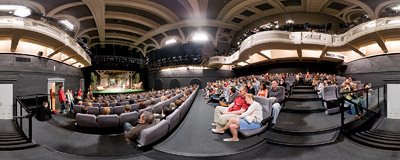 On the auditorium of Stary Teatr (Old Theatre) in Kraków on the 5th Night of Museums.  Click to view this panorama in new fullscreen window