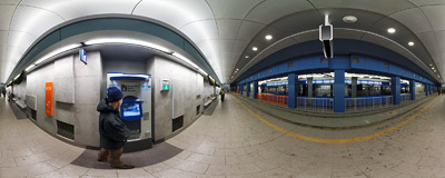 The underground tram platform Dworzec Główny (Main Railway Station) in the newly-opened tunnel in Kraków.  Click to view this panorama in new fullscreen window