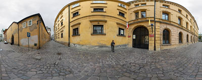Senacka street in the Kraków Old Town.  Click to view this panorama in new fullscreen window