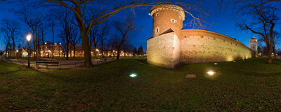 Kraków - the only remaining fragments of medieval city walls.  Click to view this panorama in new fullscreen window