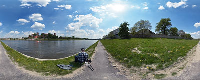 Catching fish by the Vistula river in Kraków.  Click to view this panorama in new fullscreen window