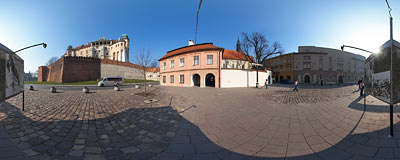 Grodzka Street in Kraków, with the Wawel Castle above.  Click to view this panorama in new fullscreen window