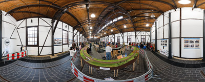 The exhibition of model railways in the renovated hall of the City Engineering Museum in Kraków.  Click to view this panorama in new fullscreen window