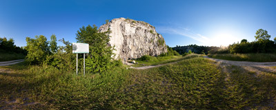 The abandoned limestone quarry in Zakrzówek, Kraków, with climbers visible on the Freney wall.  Click to view this panorama in new fullscreen window