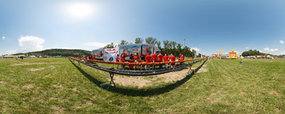 Breaking the record: making the longest shashlik in the world during the Kraków Beer Festival 2014.  Click to view this panorama in new fullscreen window