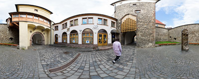 Inside the Barbican in the old mining town of Kremnica.  Click to view this panorama in new fullscreen window