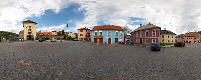Gate to the old city and a fragment of city walls in the old mining town of Kremnica.  Click to view this panorama in new fullscreen window