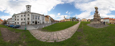 On the main town square of Kremnica, by the baroque Holy Trinity plague column.  Click to view this panorama in new fullscreen window