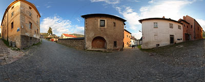 Street crossing in the old mining town of Kremnica.  Click to view this panorama in new fullscreen window