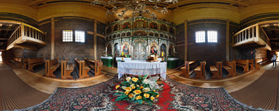 Inside the Eastern Orthodox church of Saints Cosmas and Damian in Krempna, Southern Poland.  Click to view this panorama in new fullscreen window