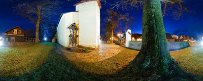 The 14th century church of All Saints in Krościenko nad Dunajcem.  Click to view this panorama in new fullscreen window