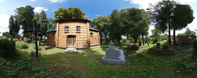 The 17th-century Eastern Orthodox wooden church of the Ascension in Kruhel Wielki (now part of Przemyśl, Southeast Poland).  Click to view this panorama in new fullscreen window