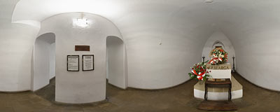 Priest Piotr Skarga's crypt in the St. Peter and St. Paul's Church in Kraków.  Click to view this panorama in new fullscreen window