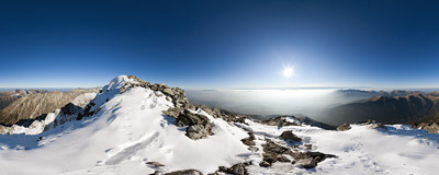 On the western end of the summit ridge of Kriváň (2495 m), high above the Kôprová Valley, Slovak Tatra Mountains.  Click to view this panorama in new fullscreen window